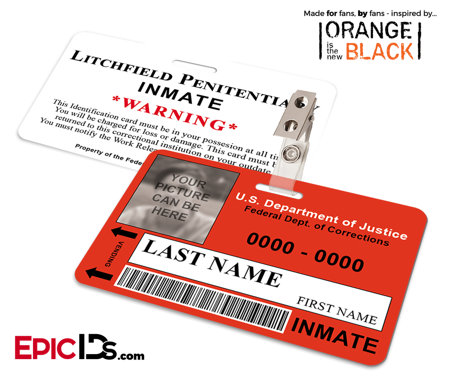Litchfield Penitentiary 'OITNB' Inmate Wearable ID Badge [Photo Personalized]