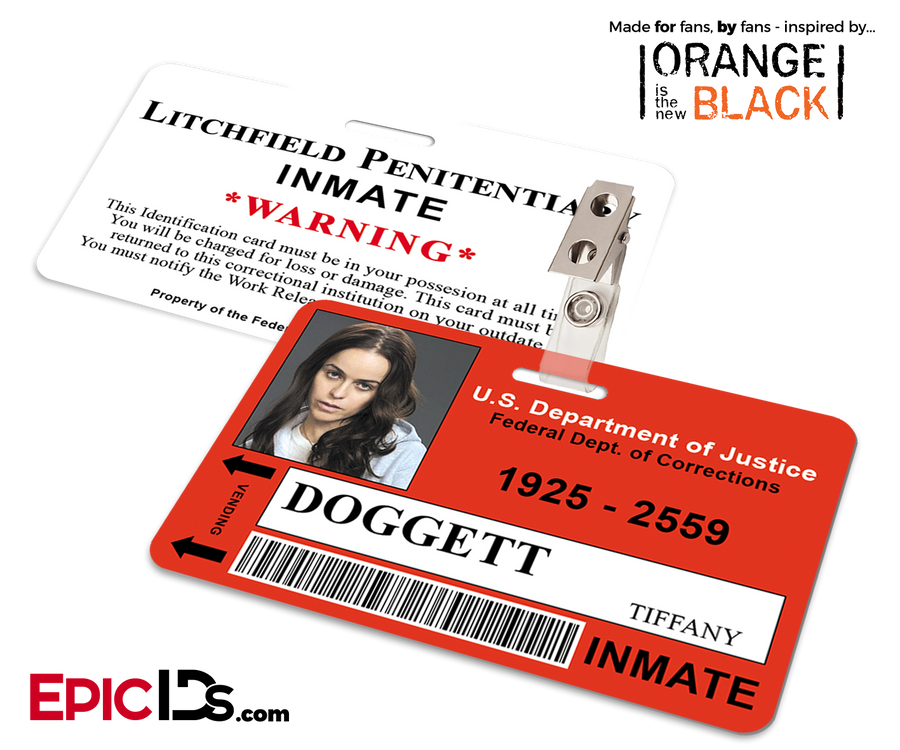 Litchfield Penitentiary 'OITNB' Inmate Wearable ID Badge - Doggett, Tiffany
