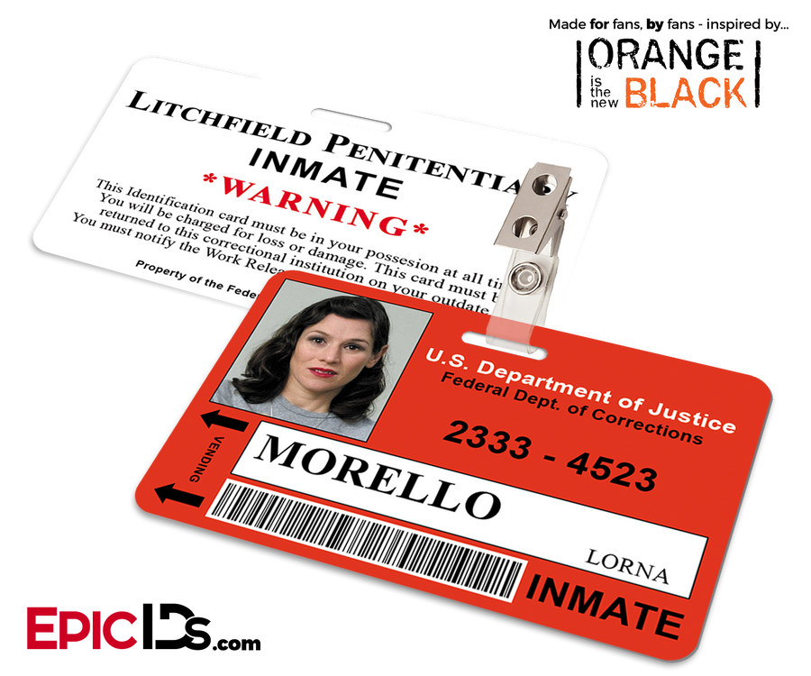Litchfield Penitentiary 'OITNB' Inmate Wearable ID Badge - Morello, Lorna