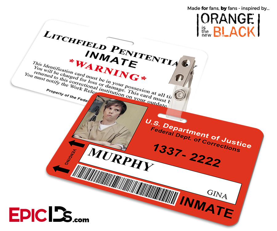 Litchfield Penitentiary 'OITNB' Inmate Wearable ID Badge - Murphy, Gina