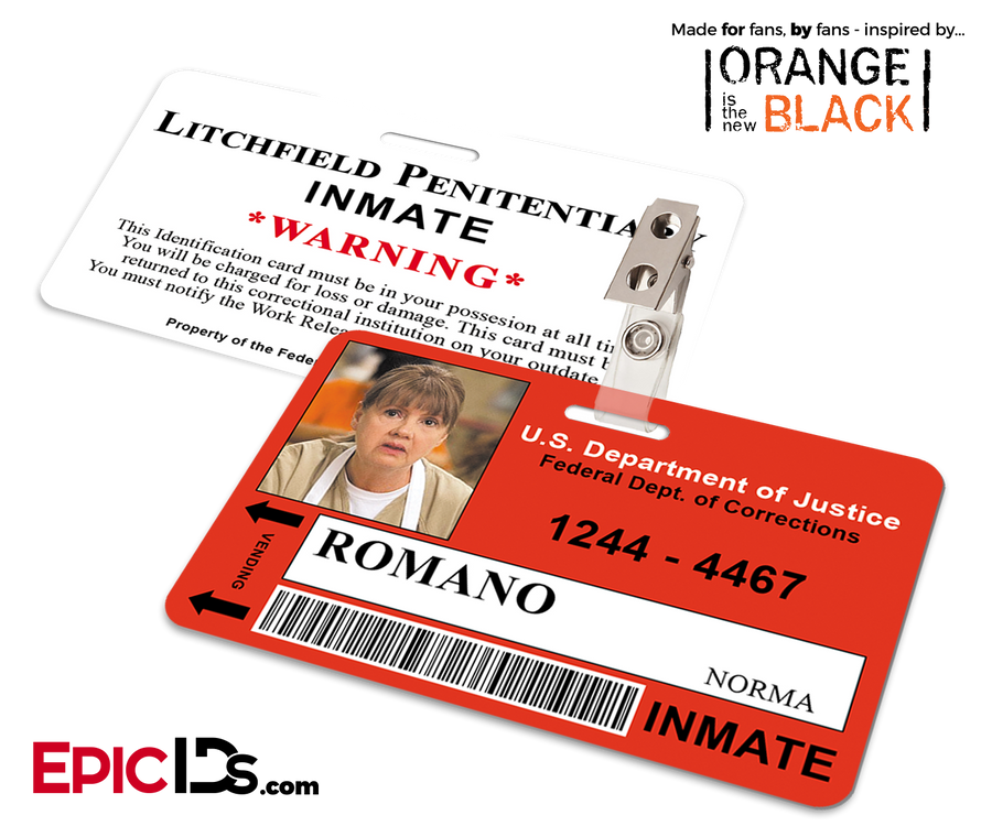 Litchfield Penitentiary 'OITNB' Inmate Wearable ID Badge - Romano, Norma
