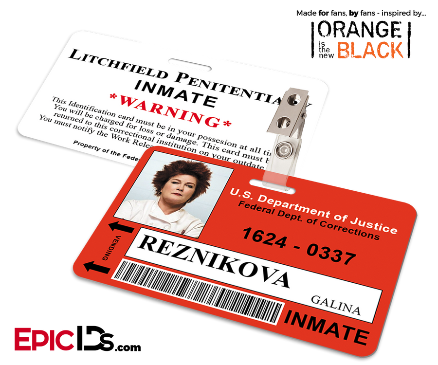 Litchfield Penitentiary 'OITNB' Inmate Wearable ID Badge - Reznikova, Galina (Red)