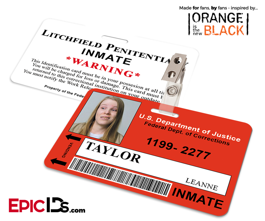 Litchfield Penitentiary 'OITNB' Inmate Wearable ID Badge - Taylor, Leanne
