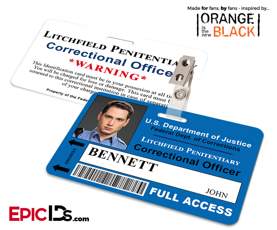 Orange is the New Black Inspired Litchfield Penitentiary Staff Wearable ID Badge - Bennett, John