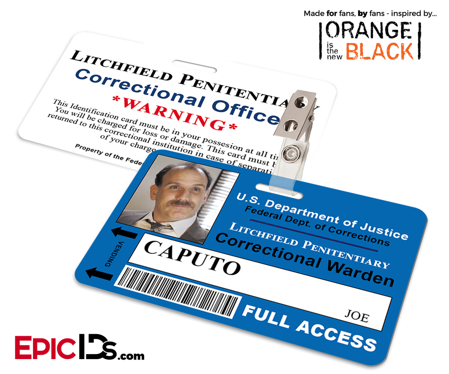 Orange is the New Black Inspired Litchfield Penitentiary Staff Wearable ID Badge - Caputo, Joe