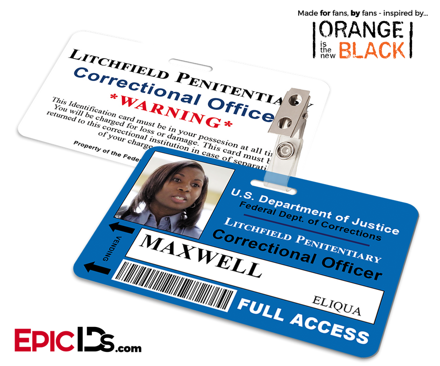 Orange is the New Black Inspired Litchfield Penitentiary Staff Wearable ID Badge - Maxwell, Eliqua