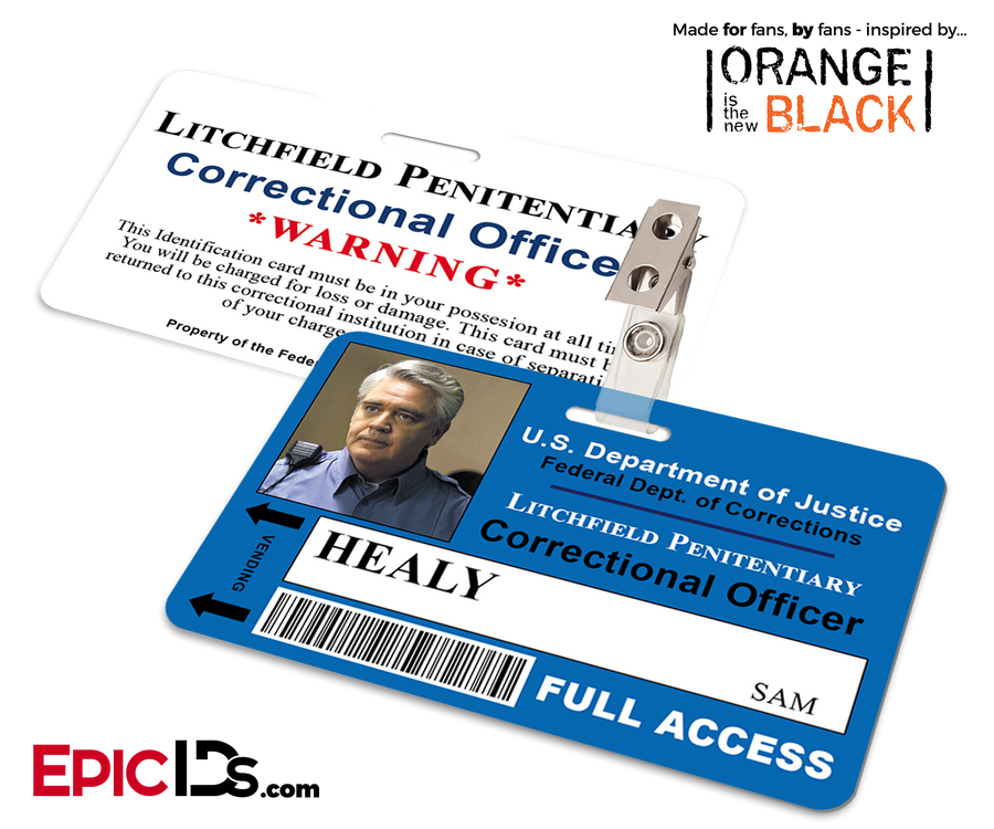 Orange is the New Black Inspired Litchfield Penitentiary Staff Wearable ID Badge - Healy, Sam