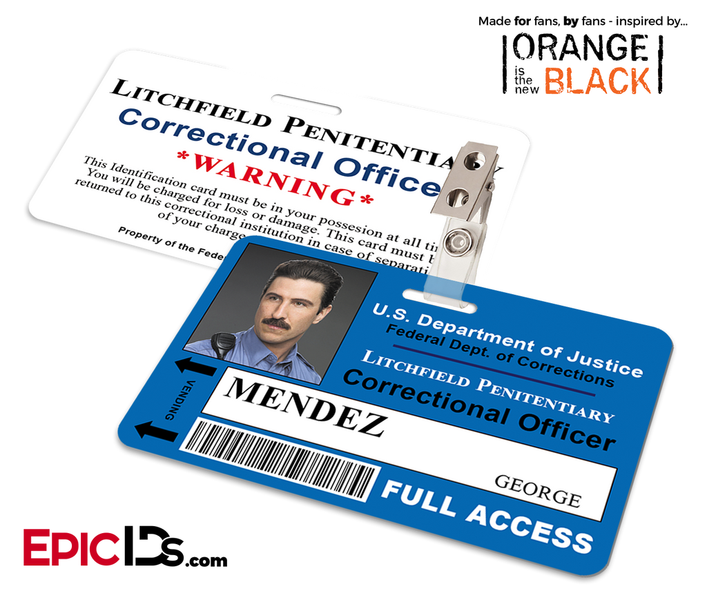 Orange is the New Black Inspired Litchfield Penitentiary Staff Wearable ID Badge - Mendez, George (Pornstache)