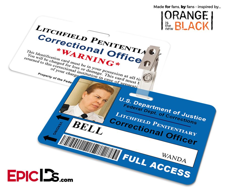 Orange is the New Black Inspired Litchfield Penitentiary Staff Wearable ID Badge - Bell, Wanda