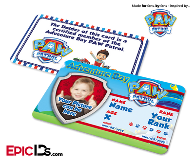 PAW Patrol Inspired Adventure Bay PAW Patrol ID Card [Photo Personalized]