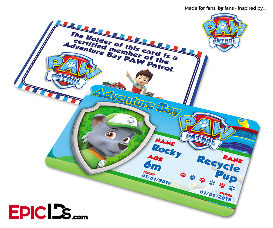 PAW Patrol Inspired Adventure Bay PAW Patrol ID Card - Rocky
