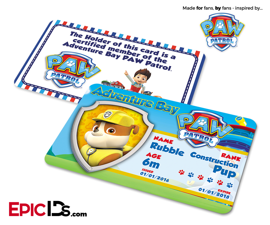 PAW Patrol Inspired Adventure Bay PAW Patrol ID Card - Rubble