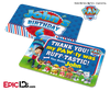 PAW Patrol Inspired Birthday Party 'Party Favor' Cards [Personalized]
