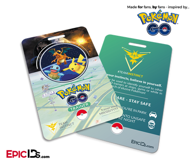 Pokemon GO Inspired Team Mystic, Valor or Instinct Trainer ID Card
