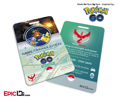 Pokemon GO Inspired Team Mystic, Valor or Instinct Trainer ID Card [Personalized]
