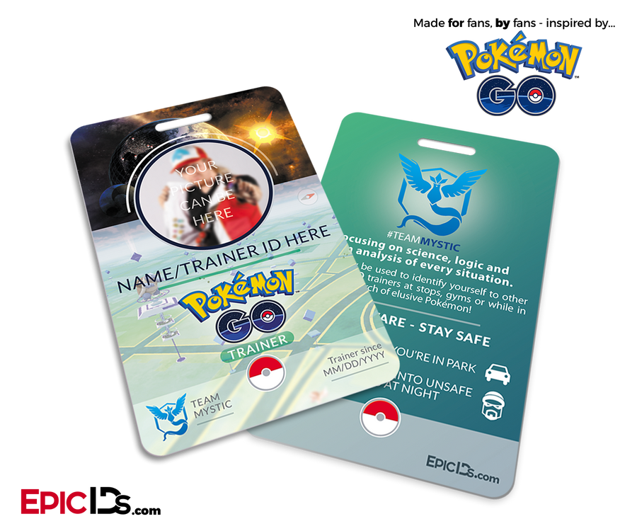 Pokemon GO Inspired Team Mystic, Valor or Instinct Trainer ID Card [Photo Personalized]