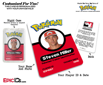 Pokemon Inspired Pokemon Player Photo ID Badge [Photo Personalized]