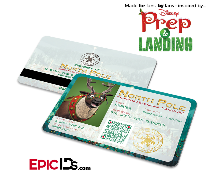 "Prep and Landing Inspired ""Dancer"" Sleigh Reindeer ID"