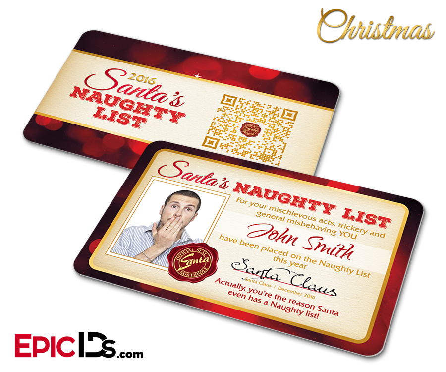 Santa's Naughty List Name and Photo Card Christmas