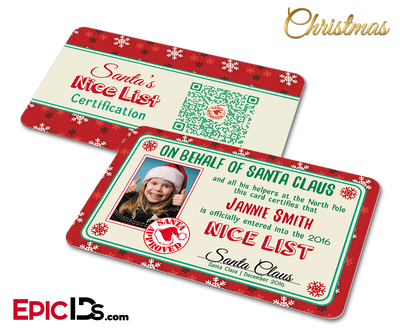 Santa's Nice List Name and Photo Card Christmas