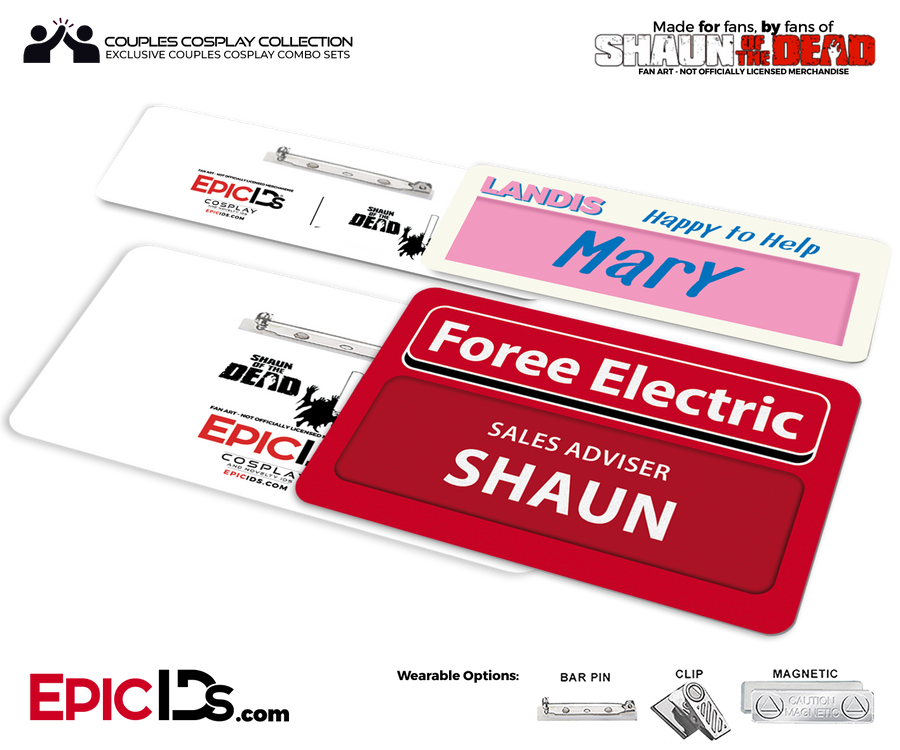 Foree Electric / Landis Grocers 'Shaun of the Dead' Shaun & Mary Cosplay Replica Name Badge Couples Set