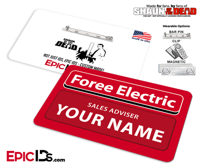 Foree Electric 'Shaun of the Dead' Cosplay Replica Name Badge [Personalized]
