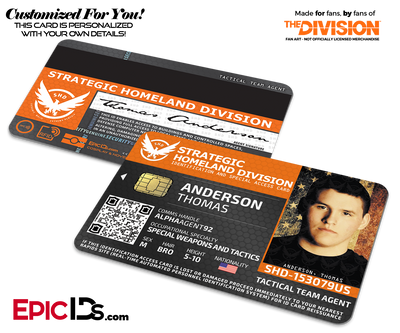 Strategic Homeland Division (SHD) 'The Division' Agent ID Card [Photo Personalized]