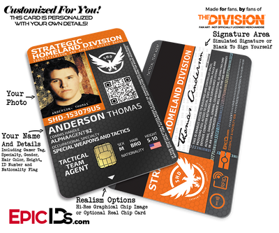 Strategic Homeland Division (SHD) 'The Division' Agent ID Badge [Photo Personalized]