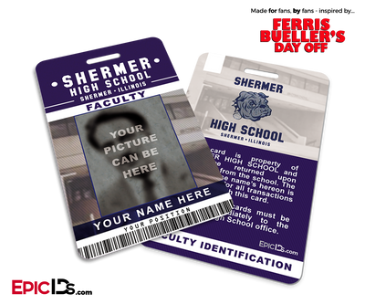 Ferris Bueller's Day Off Inspired Shermer High School Student/Faculty ID [Photo Personalized]