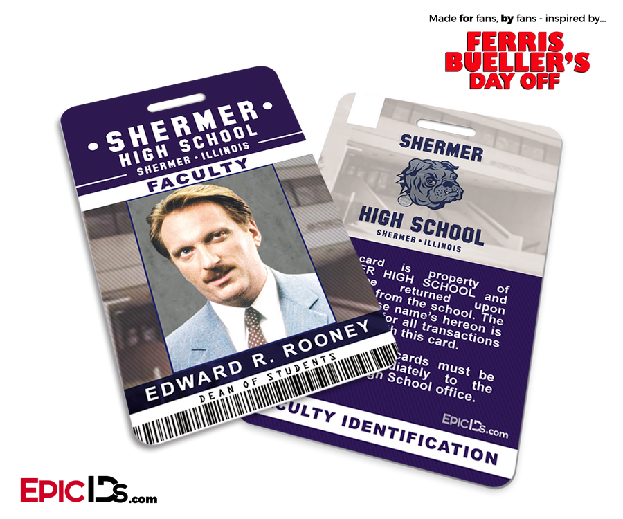 Ferris Bueller's Day Off Inspired Shermer High School Faculty ID - Ed Rooney