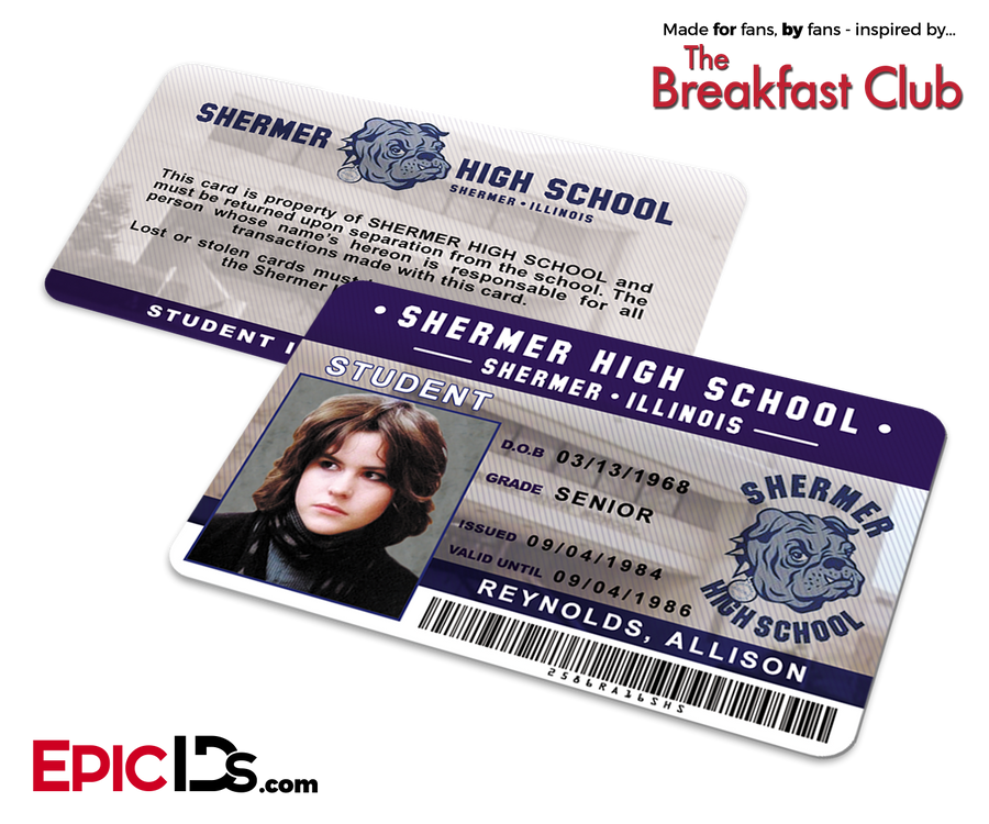 The Breakfast Club Inspired Shermer High School Student ID - Allison Reynolds