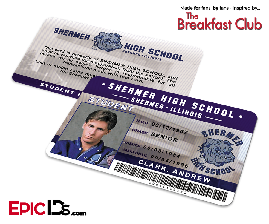 The Breakfast Club Inspired Shermer High School Student ID - Andrew Clark