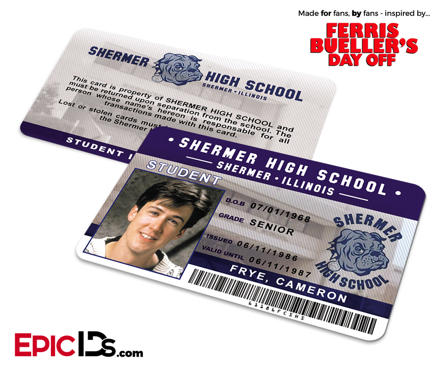 Ferris Bueller's Day Off Inspired Shermer High School Student ID - Cameron Frye