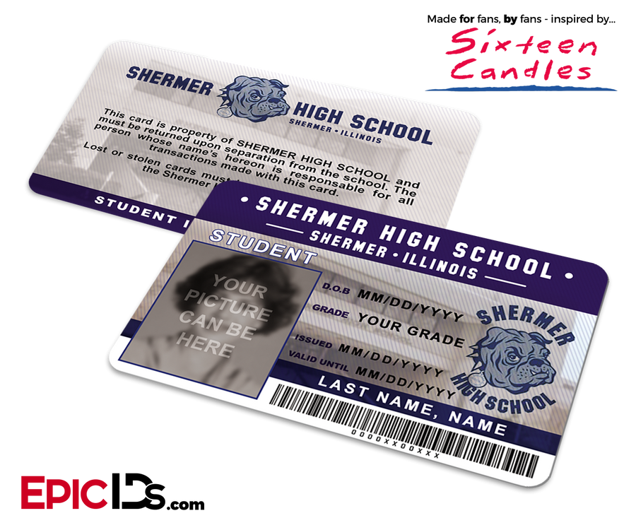 Sixteen Candles Inspired Shermer High School Student ID [Photo Personalized]