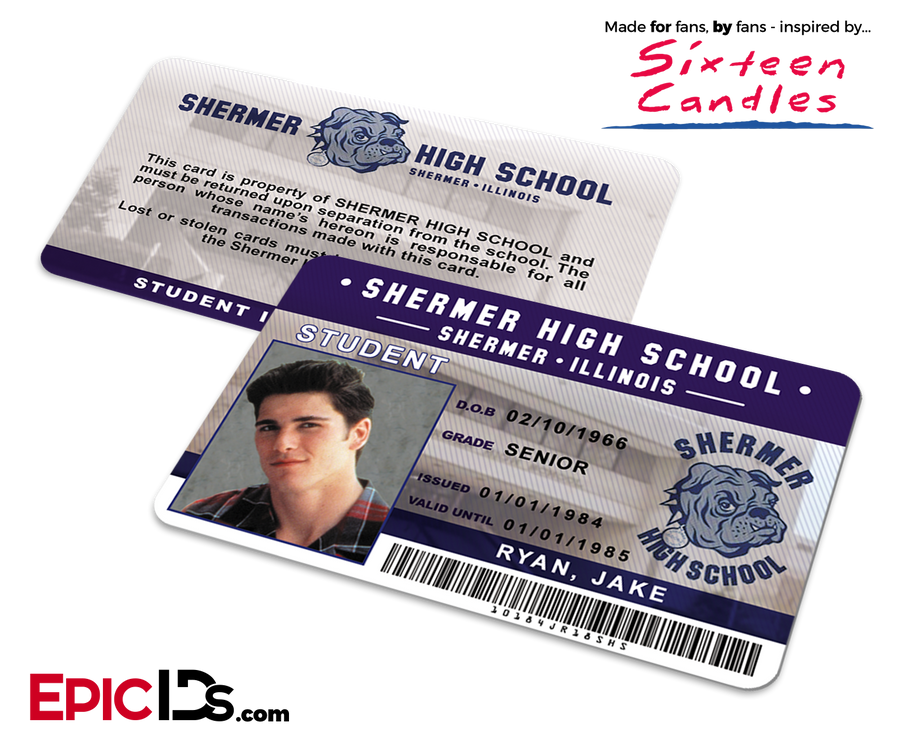 Sixteen Candles Inspired Shermer High School Student ID - Jake Ryan