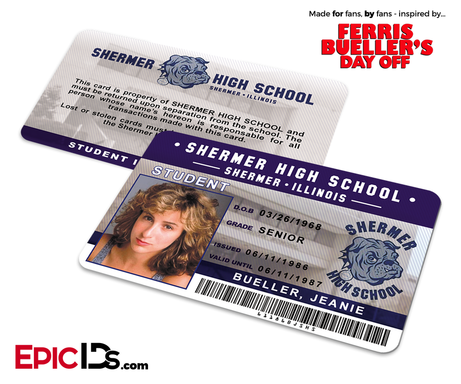 Ferris Bueller's Day Off Inspired Shermer High School Student ID - Jeanie Beuller