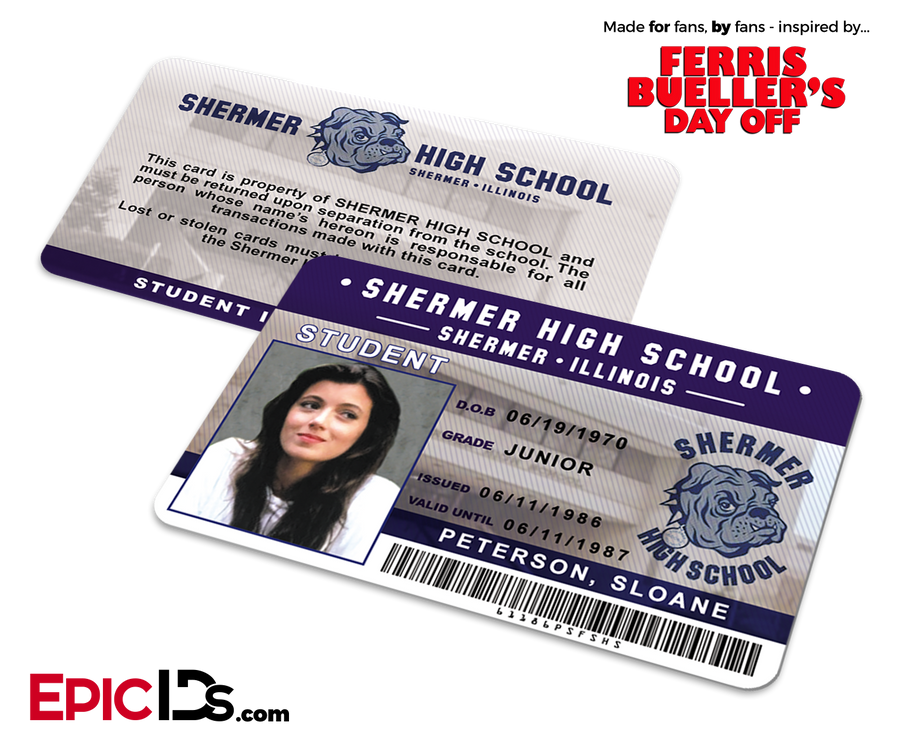 Ferris Bueller's Day Off Inspired Shermer High School Student ID - Sloane Peterson