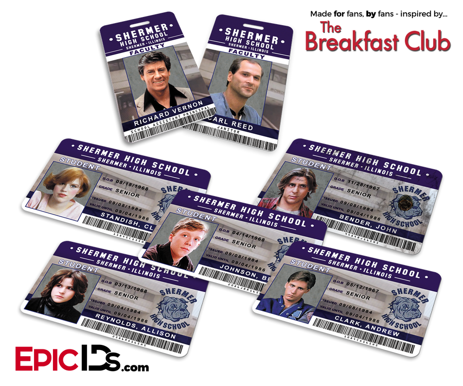 The Breakfast Club Inspired Shermer High School ID Collection (Set of 7)