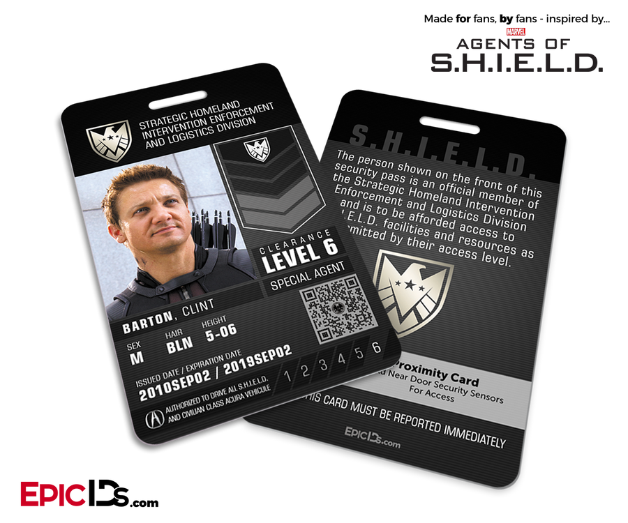 Agents of SHIELD Inspired 'Real' SHIELD Agent ID - Clint Barton