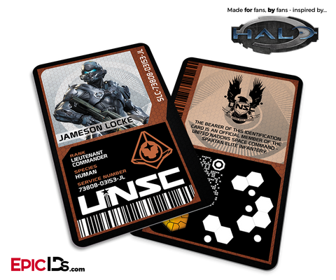 Halo Video Game Series Inspired 'Guardians' Red Team UNSC ID - Jameson Locke
