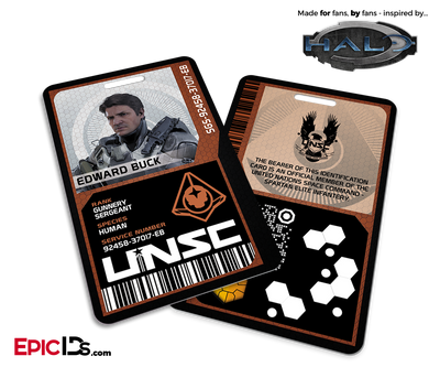 Halo Video Game Series Inspired 'Guardians' Red Team UNSC ID - Edward Buck