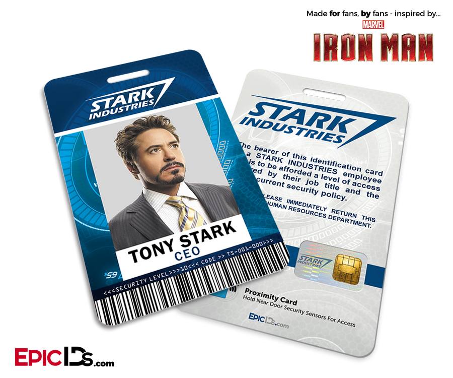 Iron Man / Avengers Inspired Stark Industries Employee ID - Tony Stark