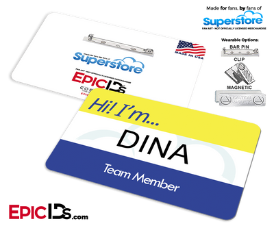 Employee Name Badge 'Superstore' Wearable ID - Dina