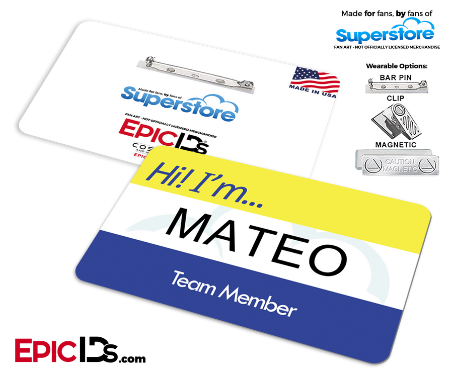 Employee Name Badge 'Superstore' Wearable ID - Mateo