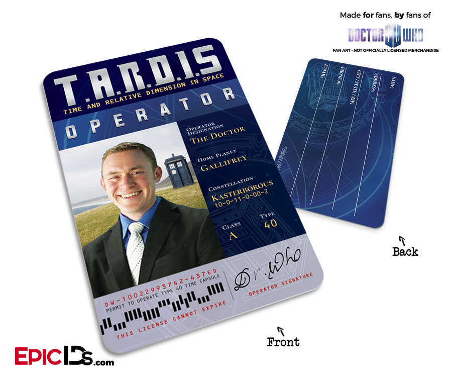 Custom Order [Adam] TARDIS 'Doctor Who' Operator License Bag Tag [Photo Personalized]