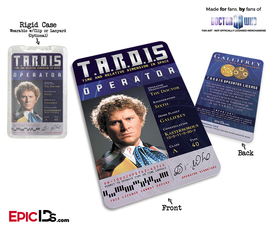 TARDIS 'Doctor Who' Operator License - (06) The Sixth Doctor