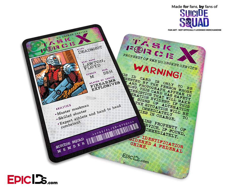 Task Force X 'Suicide Squad' Classic Comic ID Card - DeadShot / Floyd Lawton