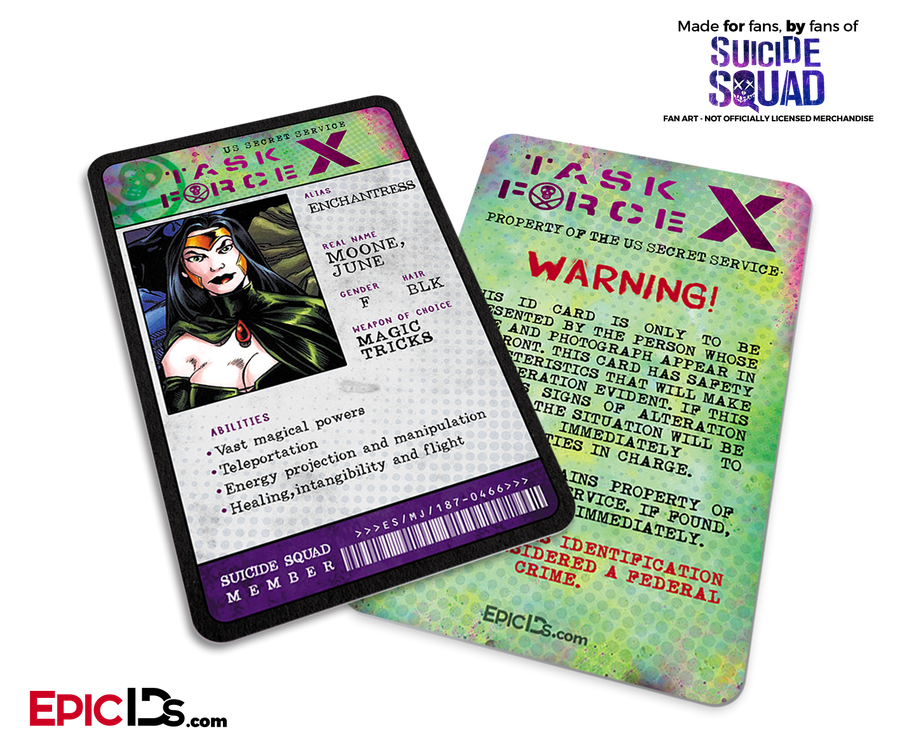 Task Force X 'Suicide Squad' Classic Comic ID Card - Enchantress / June Moone