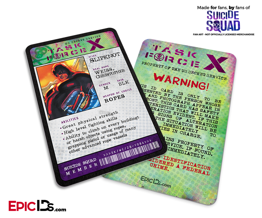 Task Force X 'Suicide Squad' Classic Comic ID Card - Slipknot / Christopher Weiss