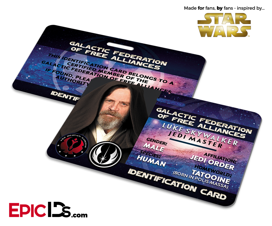 Star Wars Inspired - Galactic Alliance - Luke Skywalker Identification Card